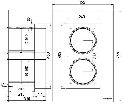 Images Dimensions - Kanalgj.føring kombirist Ø160 - Systemair