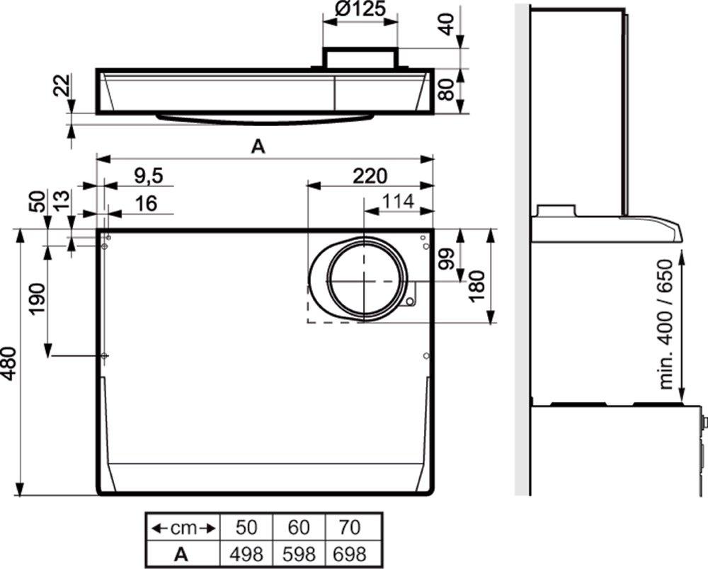 Images Dimensions - 210 hvit 60 cm - Systemair