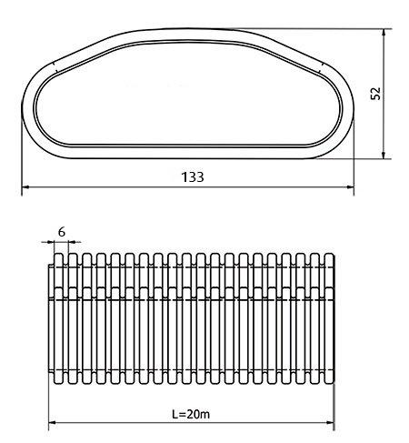 Images Dimensions - OVAL+S130 Kunststoffr. à 20m - Systemair