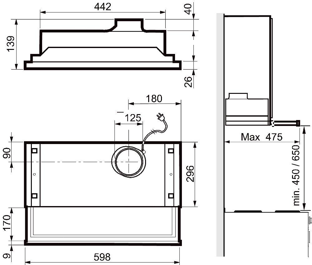 Images Dimensions - 420 hvit 60 cm - Systemair