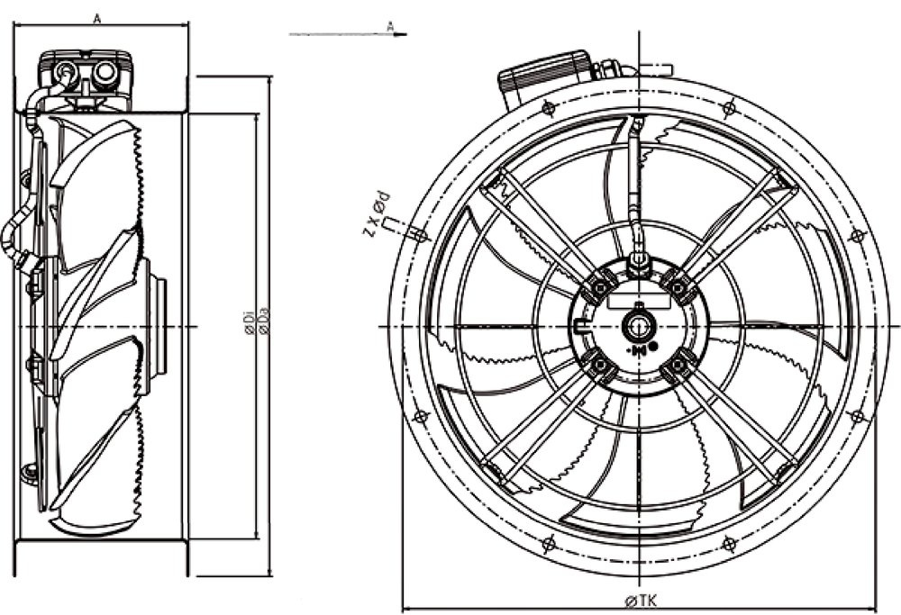 Images Dimensions - AR 200E4 sileo Axial fan - Systemair