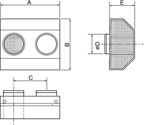 Images Dimensions - CVVX 160 Kombirist, svart - Systemair