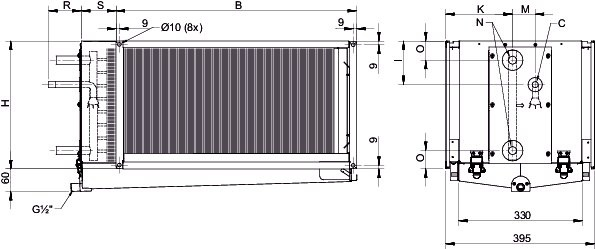 Images Dimensions - DXRE 50-30-3-2,5 Duct cooler - Systemair