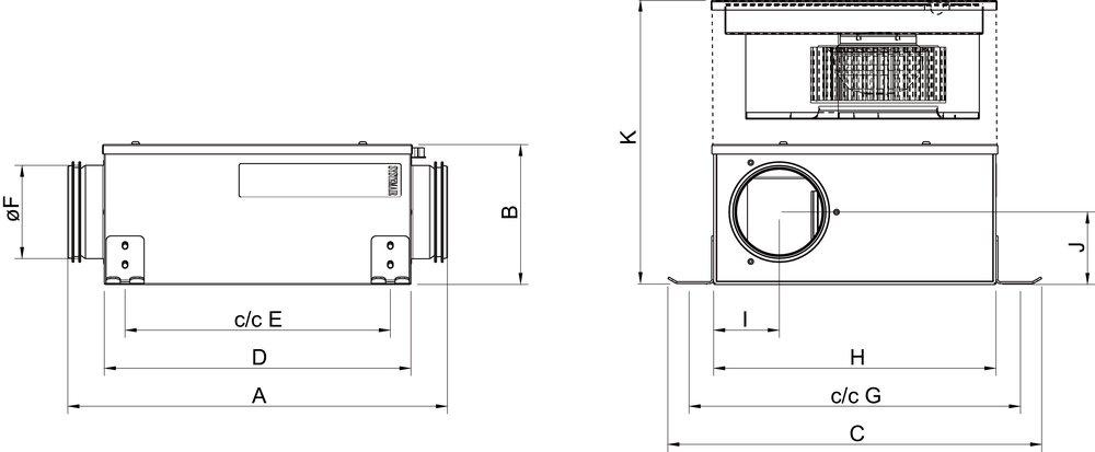 Images Dimensions - KVK Slim 160 AC - Systemair