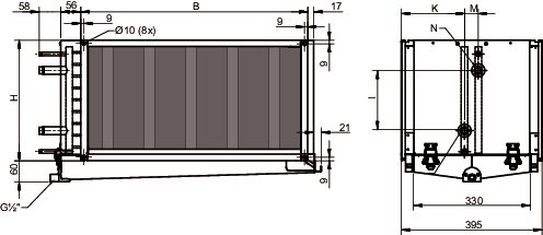 Images Dimensions - PGK 50-30-3-2,0 Duct cooler - Systemair