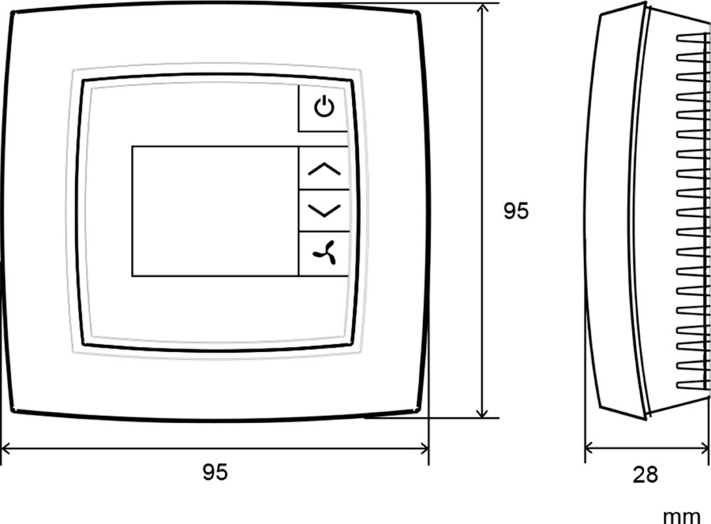 Images Dimensions - Room Controller S-ED-RU-DFO - Systemair