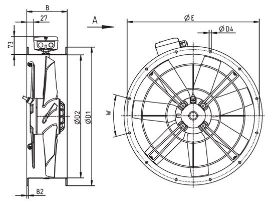Images Dimensions - ZAC 500-41 Cased axial fan - Systemair
